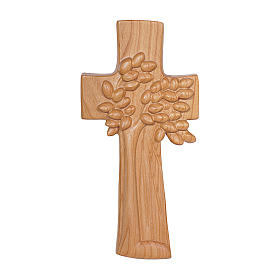 The Tree of Life cross in cherry wood satinized Ambiente Design Valgardena s1