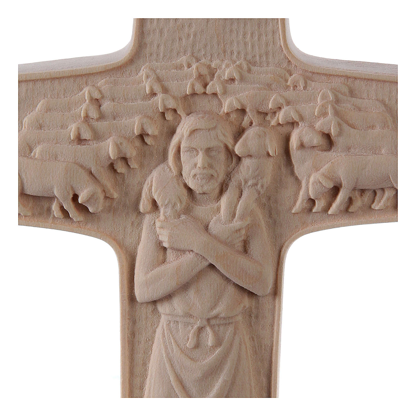 Cruz Papa Francisco Buen Pastor madera Val Gardena natural 4