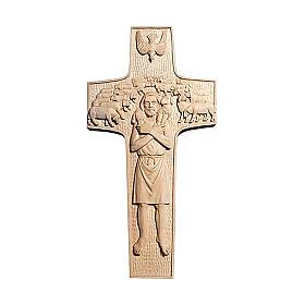 Croce Papa Francesco Buon Pastore legno Valgardena naturale s1