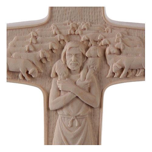 Croce Papa Francesco Buon Pastore legno Valgardena naturale 2