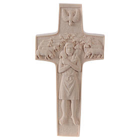 Cross with image of Pope Francis the Good Shepherd in natural wood of Valgardena s1