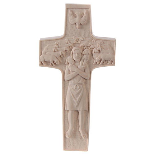 Cross with image of Pope Francis the Good Shepherd in natural wood of Valgardena 1
