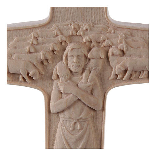 Cross with image of Pope Francis the Good Shepherd in natural wood of Valgardena 2