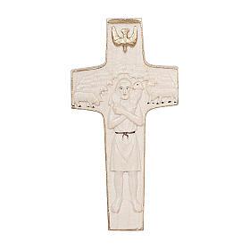 Croce Papa Francesco Buon Pastore legno Valgardena cerata filo oro s1