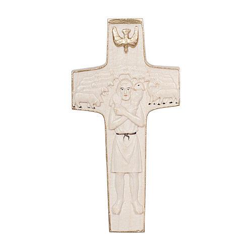 Croce Papa Francesco Buon Pastore legno Valgardena cerata filo oro 1