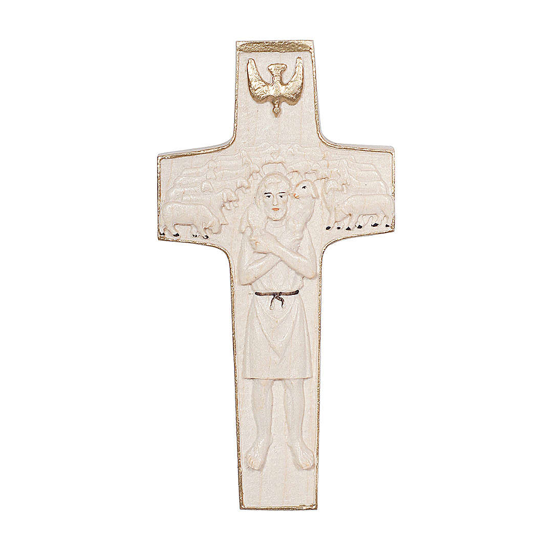 Cross with image of Pope Francis the Good Shepherd in wood and wax with gold thread Valgardena 4