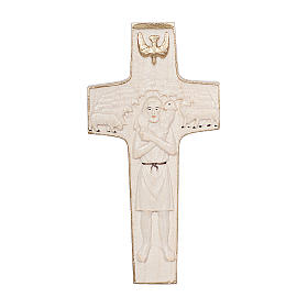 Cross with image of Pope Francis the Good Shepherd in wood and wax with gold thread Valgardena s1