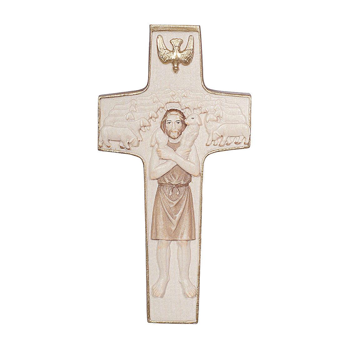 Cruz Papa Francisco Buen Pastor madera Val Gardena bruñida 3 colores 4