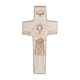 Cruz Papa Francisco Buen Pastor madera Val Gardena bruñida 3 colores s1