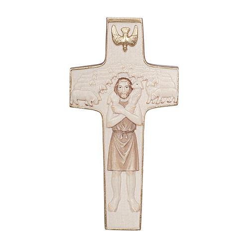 Croix Pape François Bon Pasteur bois Val Gardena bruni 3 tons 1