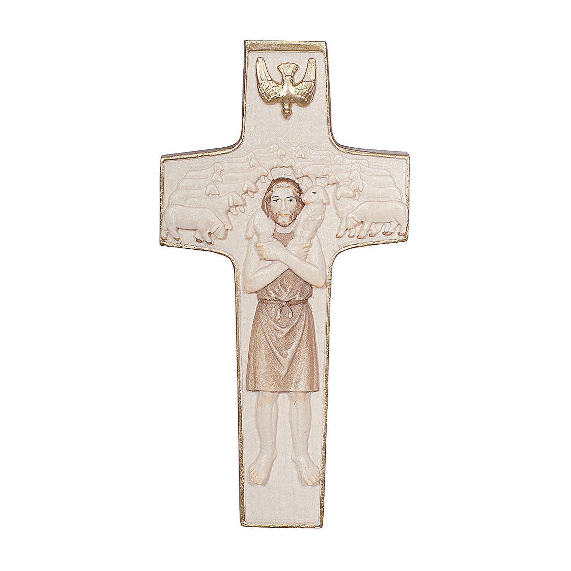 Cross with image of Pope Francis the Good Shepherd in wood burnished in 3 colours Valgardena 4