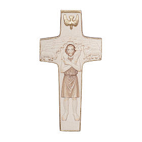 Cross with image of Pope Francis the Good Shepherd in wood burnished in 3 colours Valgardena s1