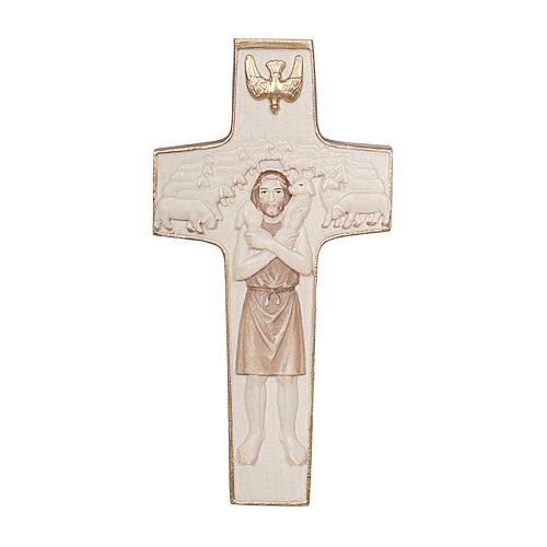 Cross with image of Pope Francis the Good Shepherd in wood burnished in 3 colours Valgardena 1