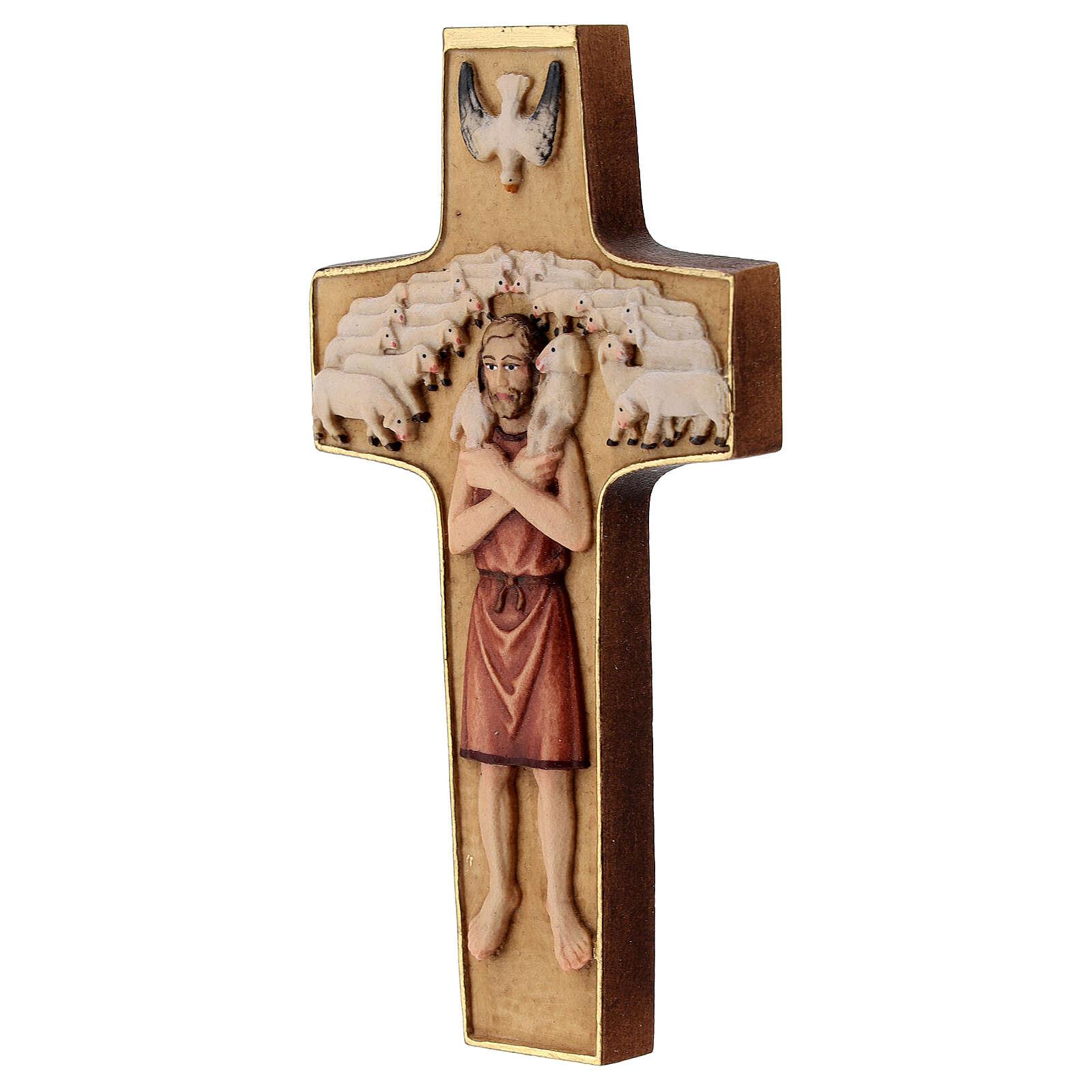 Kreuz Papst Franziskus Guter Hirte bemalten Grödnertal Holz 4