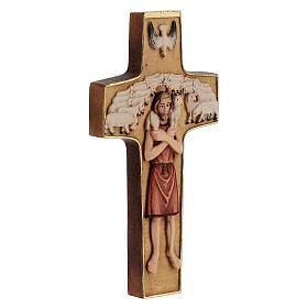 Kreuz Papst Franziskus Guter Hirte bemalten Grödnertal Holz s4