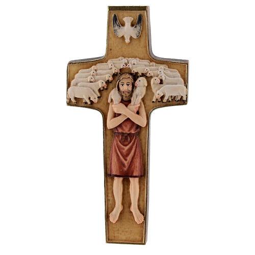 Kreuz Papst Franziskus Guter Hirte bemalten Grödnertal Holz 1