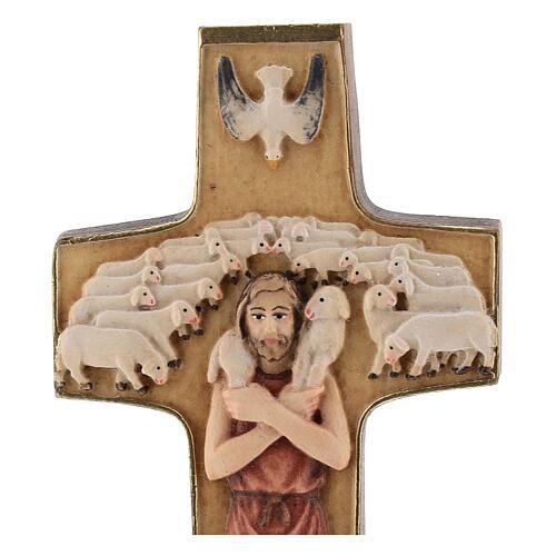 Kreuz Papst Franziskus Guter Hirte bemalten Grödnertal Holz 2