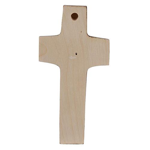 Kreuz Papst Franziskus Guter Hirte bemalten Grödnertal Holz 5