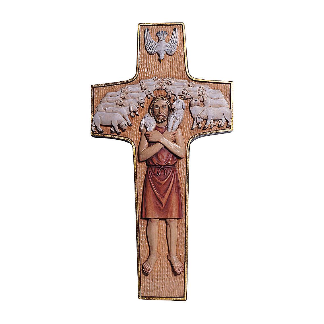 Cruz Papa Francisco Buen Pastor madera Val Gardena pintada 4