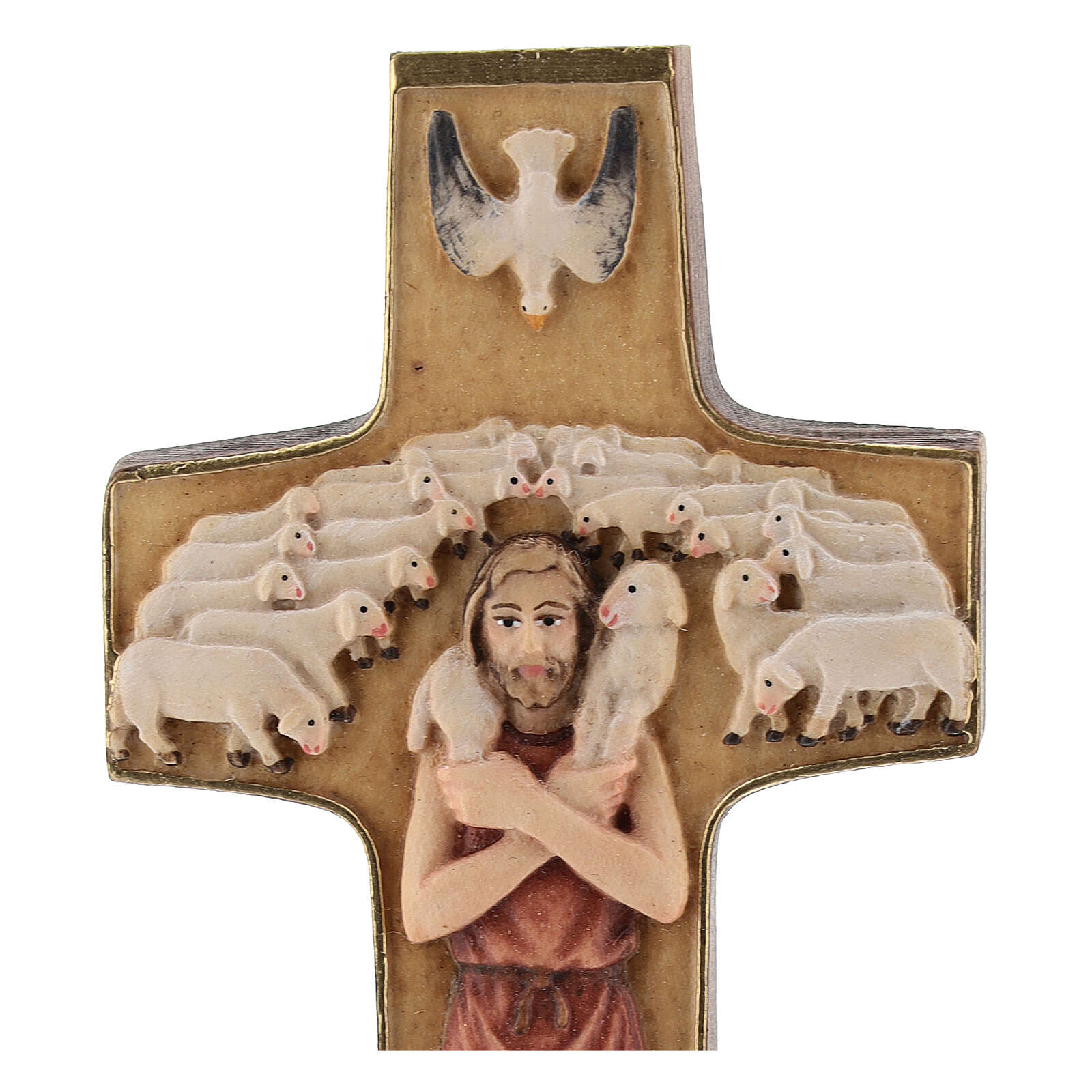 Cross with image of Pope Francis the Good Shepherd in painted maple wood of Valgardena 4