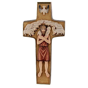 Cross with image of Pope Francis the Good Shepherd in painted maple wood of Valgardena s1