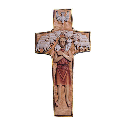 Cross with image of Pope Francis the Good Shepherd in painted maple wood of Valgardena 1