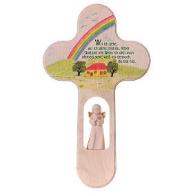 Croix colorée avec Ange 21 cm Val Gardena ALL s1