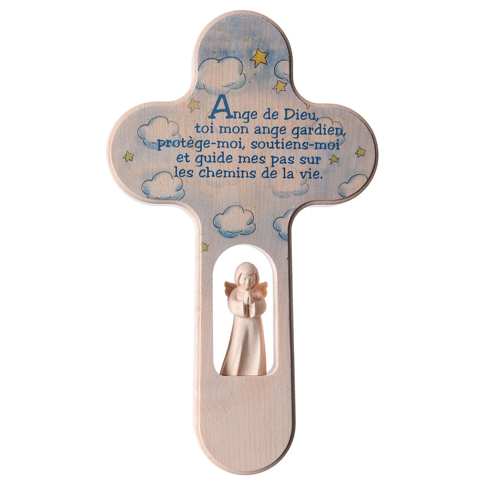 Croce colorata con Angelo 21 cm PREG. FRANCESE azzurra Valgardena 4