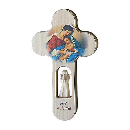Croce Angeli colorata Ave Maria ITALIANO 21 cm Valgardena 1