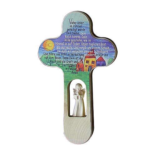 Croix Ange colorée Notre Père ALL 21 cm Val Gardena 1
