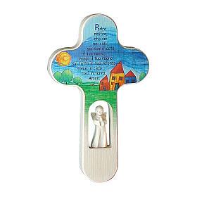 Cruz Ángeles coloreada Padre Nuestro ITALIANO 21 cm Val Gardena s1