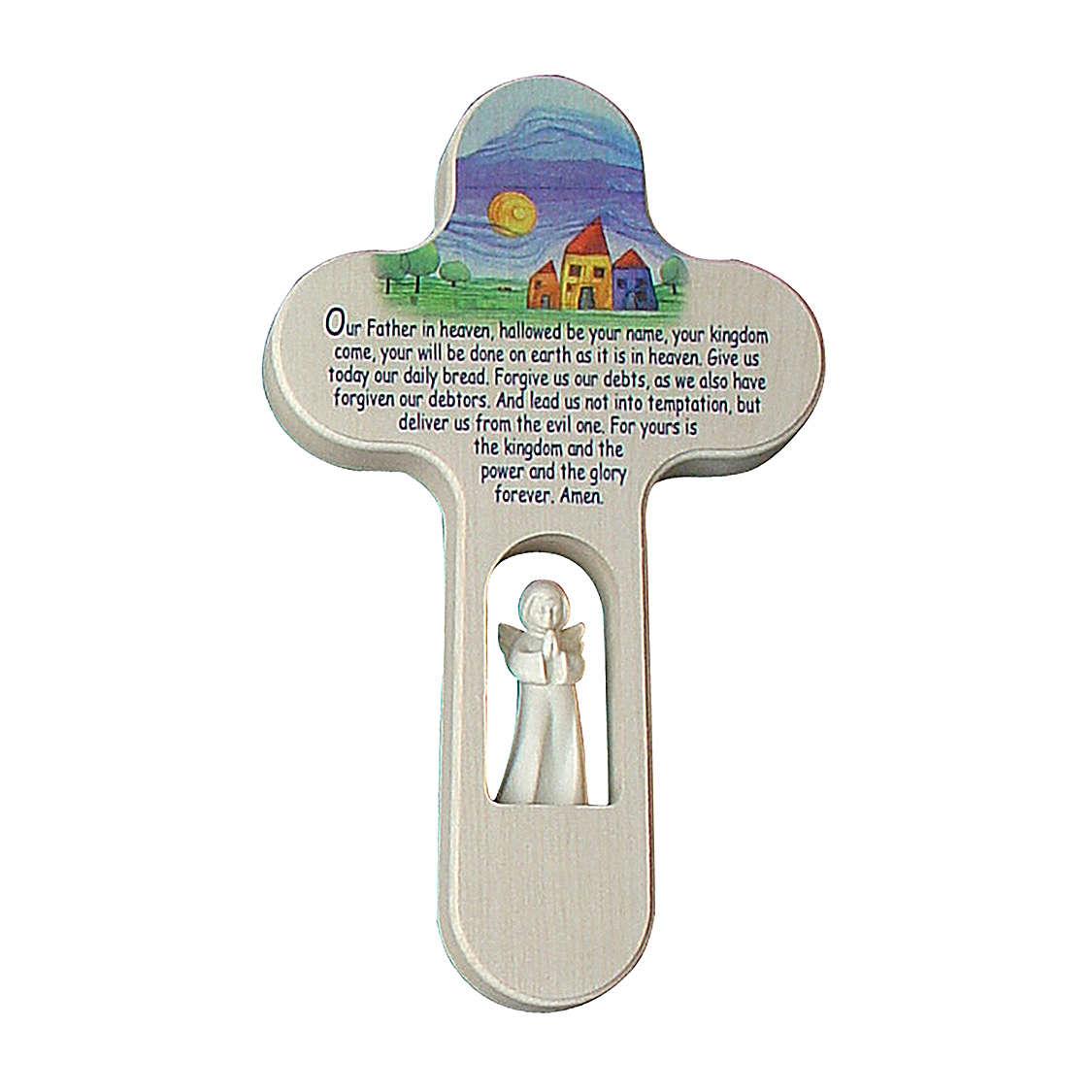 Croix Ange colorée Notre Père ANG 21 cm Val Gardena 4