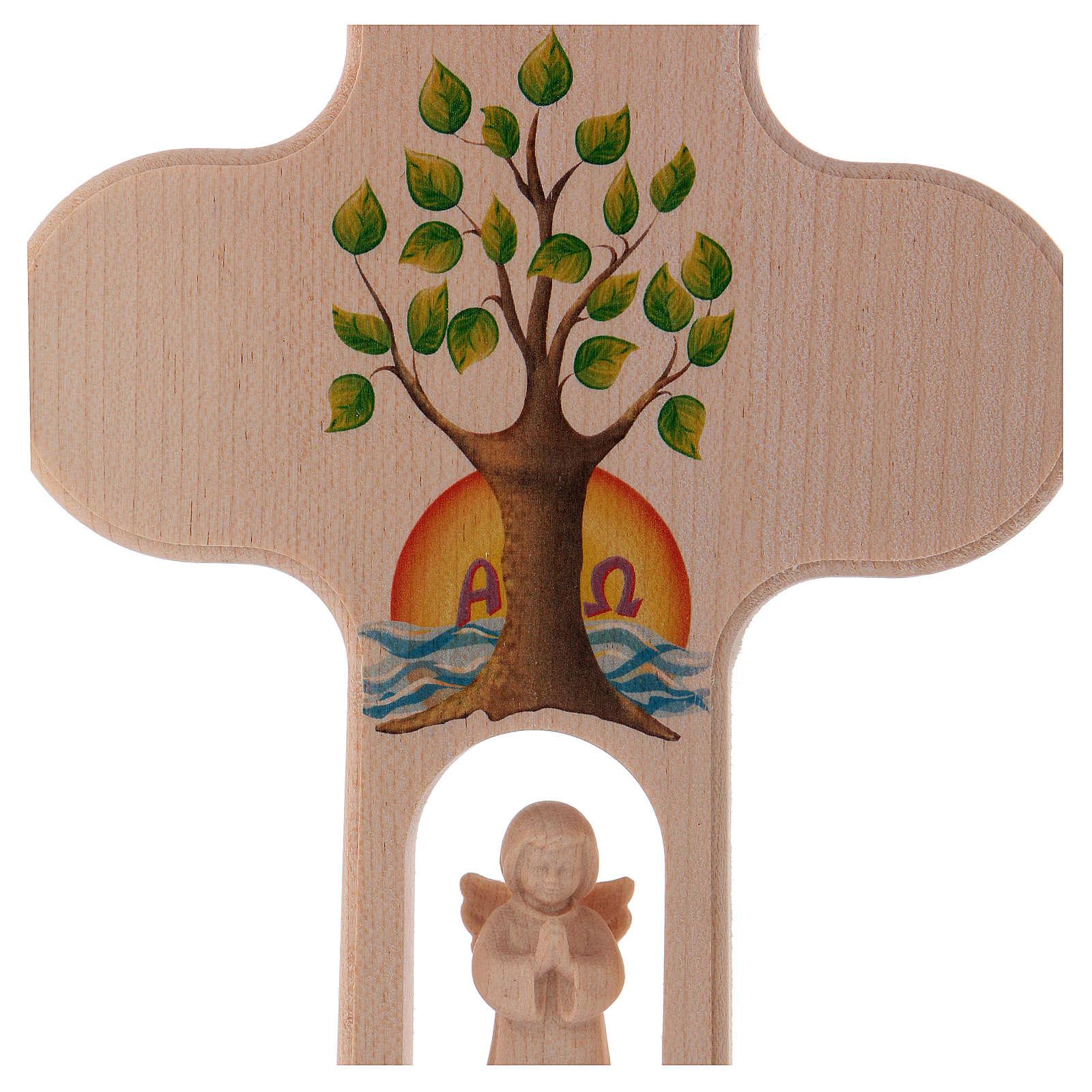 Cruz madera Val Gardena bruñida con Ángel Árbol de la Vida 20 cm 4