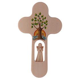 Cruz madera Val Gardena bruñida con Ángel Árbol de la Vida 20 cm s1