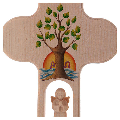 Cruz madera Val Gardena bruñida con Ángel Árbol de la Vida 20 cm 2