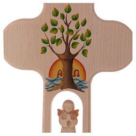 Croix bois Val Gardena brunie avec Ange Arbre de Vie 20 cm s2