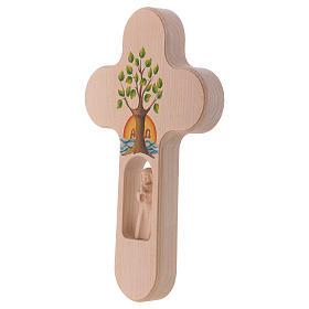 Croix bois Val Gardena brunie avec Ange Arbre de Vie 20 cm s3