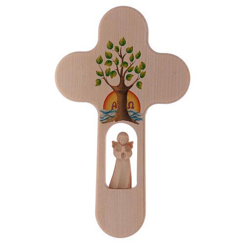 Croix bois Val Gardena brunie avec Ange Arbre de Vie 20 cm 1