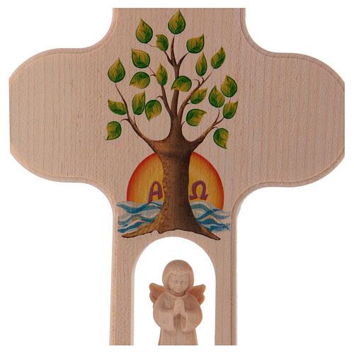 Croix bois Val Gardena brunie avec Ange Arbre de Vie 20 cm 2