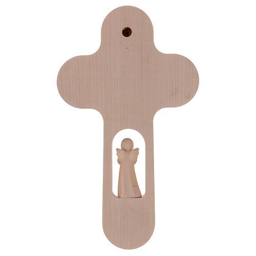 Croix bois Val Gardena brunie avec Ange Arbre de Vie 20 cm 4