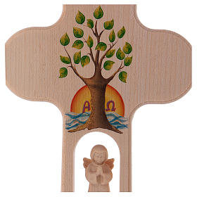 Wood cross with Angel and Tree of Life, burnished, Val Gardena 20 cm s2