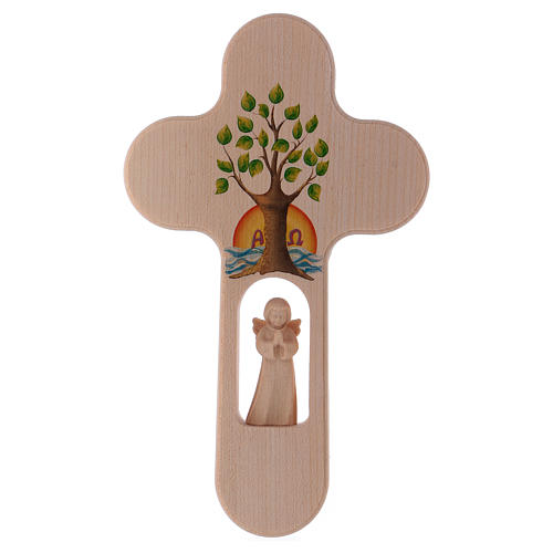 Wood cross with Angel and Tree of Life, burnished, Val Gardena 20 cm 1