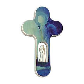 Croce legno Valgardena brunita con Angelo 20 cm s1