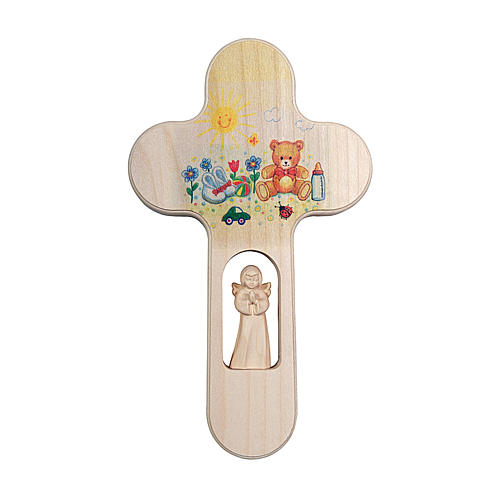 Croce legno Valgardena brunita con Angelo Orso 20 cm 1