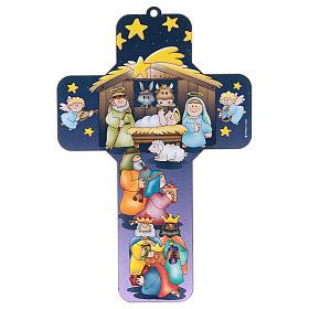 Nativity Scene cross 12x18 cm in MDF s1