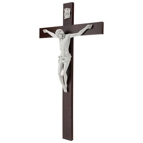 Crocifisso Carrara con Corpo di Cristo in resina Fontanini 100x56 cm 3