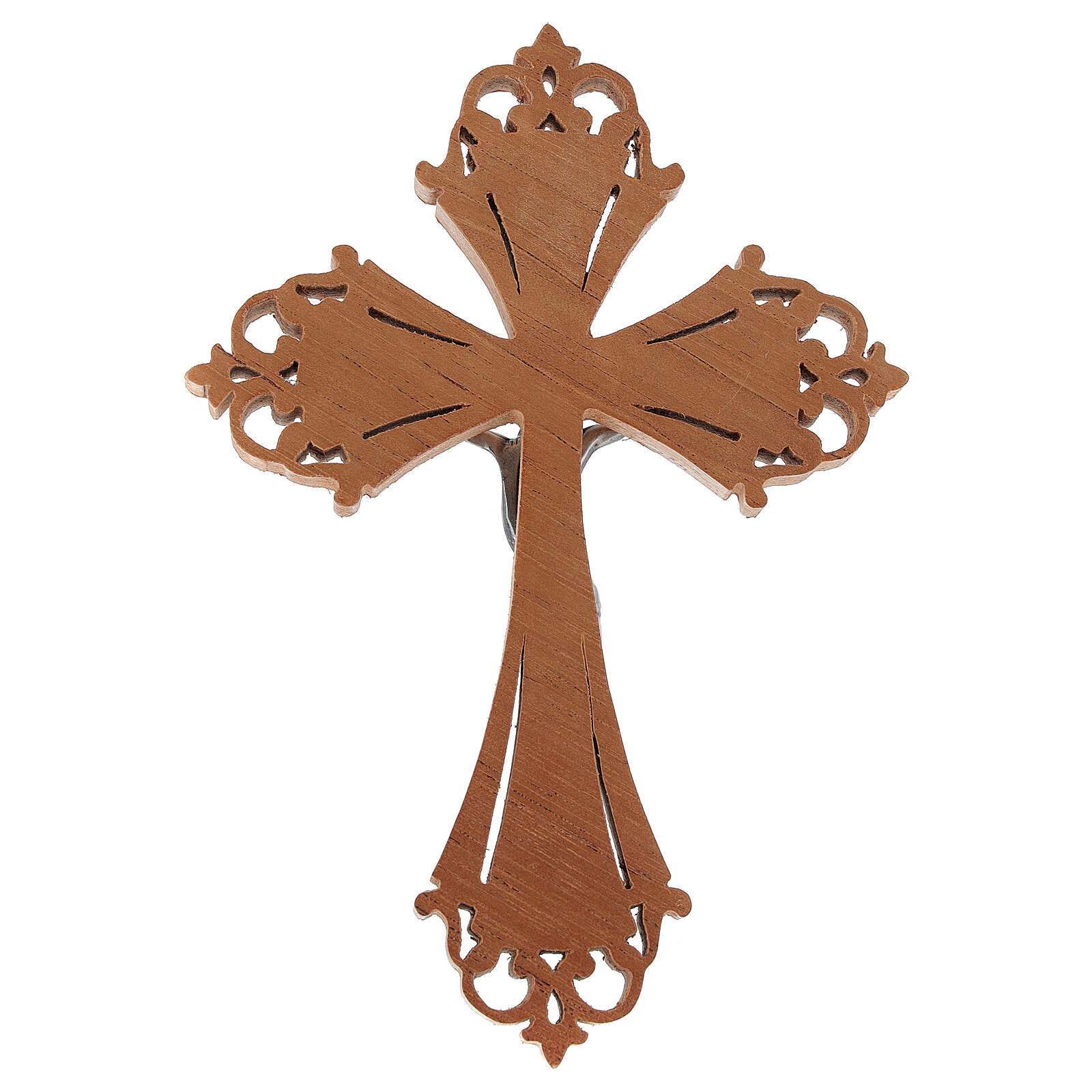 Crucifijo de madera con Cristo de acero plateado 4
