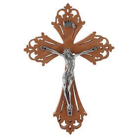 Crucifijo de madera con Cristo de acero plateado s1