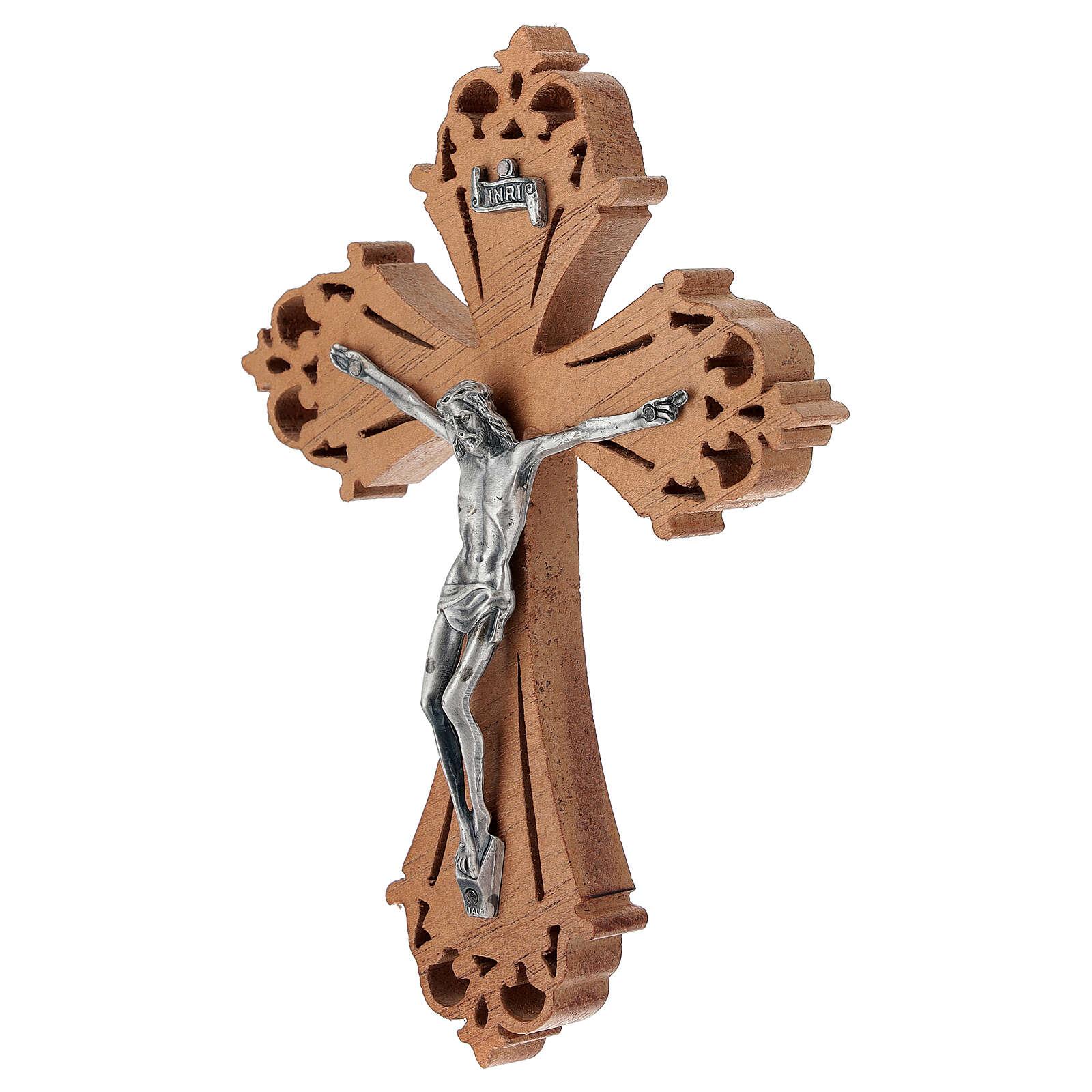Crocefisso in legno con Cristo in acciaio argentato 4