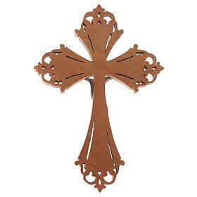 Crocefisso in legno con Cristo in acciaio argentato s3